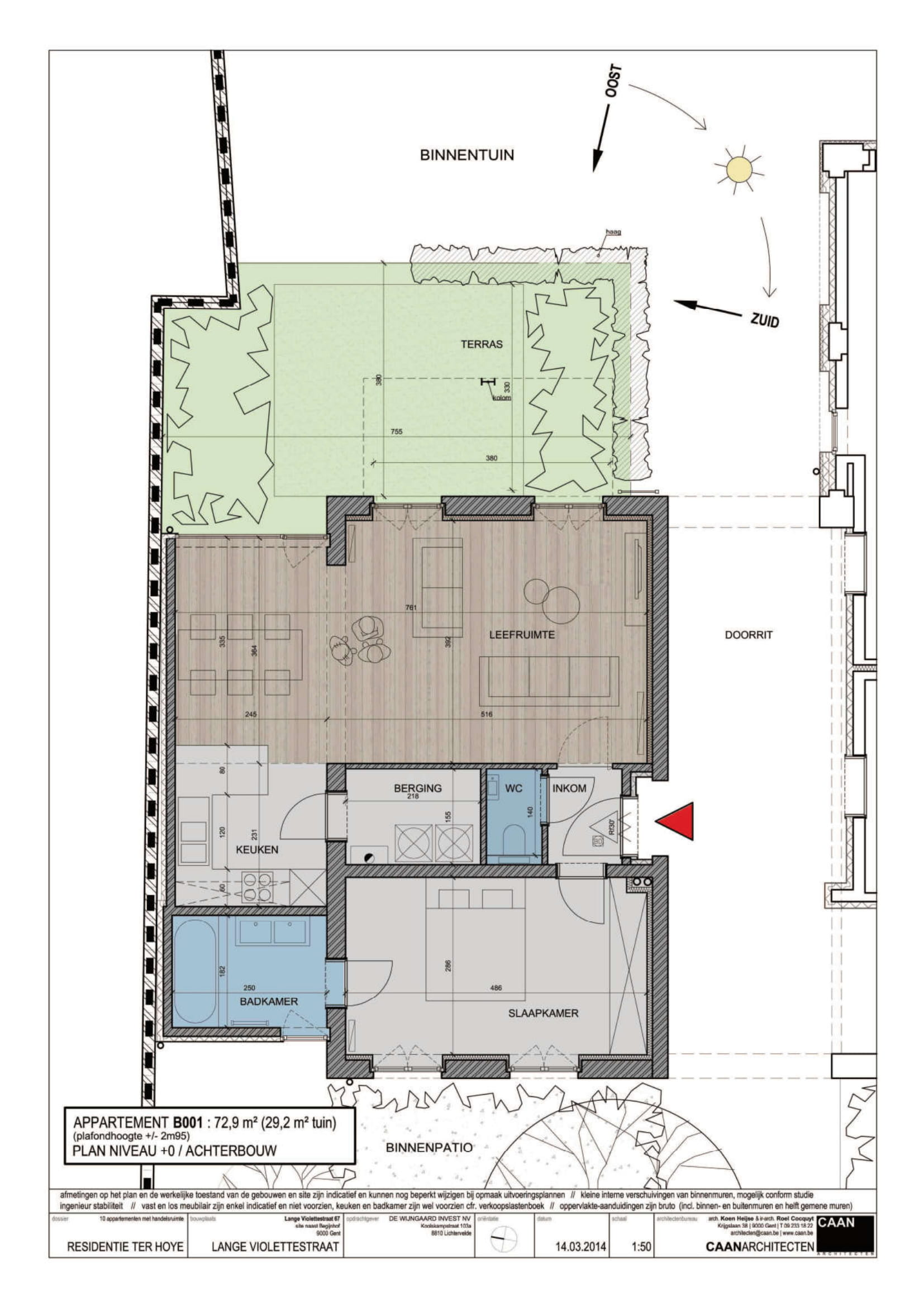 furnished business apartment B001 layout